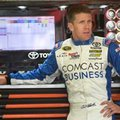 Carl Edwards waits for his car before practice for Sunday's NASCAR Sprint Cup Series auto race at New Hampshire Motor Speedway Friday, Sept. 23, 2016, in Loudon, N.H. (AP Photo/Jim Cole)