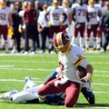 FILE - In this Sunday, Sept. 25, 2016, file photo, Washington Redskins quarterback Kirk Cousins (8) fumbles the ball as he is sacked by New York Giants' Jason Pierre-Paul (90) during the second quarter of an NFL football game in East Rutherford, N.J. Pierre-Paul recovered the ball. Cousins blew a chance for more points at the end of the first half against the Giants by getting sacked within field goal range. The Redskins rallied, helped by Eli Manning being picked with the game on the line (AP Photo/Bill Kostroun, File)