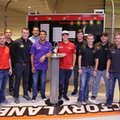 The NASCAR Xfinity series drivers that qualified for the chase for the series championship, from left, Daniel Suarez, Justin Allgaier, Ryan Sieg, Ty Dillon, Elliott Sadler, Darrell Wallace Jr, Ryan Reed, Erik Jones, Brandon Jones, Brendan Gaughan, Blake Koch, and Brennan Pool pose for a photo during an event at the NASCAR Hall of Fame in Charlotte, N.C., Tuesday, Sept. 20, 2016. (AP Photo/Chuck Burton)