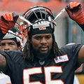 FILE - In this June 10, 2014, file photo, Cincinnati Bengals outside linebacker Vontaze Burfict adjusts his helmet during an NFL football mandatory minicamp in Cincinnati. The Bengals think that they'll improve significantly with Burfict back at linebacker. They did last year in a similar situation. (AP Photo/File)