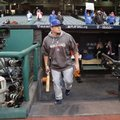 Chicago Cubs' Kyle Schwarber makes his way to batting practice before Game 1 of the Major League Baseball World Series against the Cleveland Indians Tuesday, Oct. 25, 2016, in Cleveland. (AP Photo/David J. Phillip)