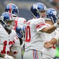 New York Giants quarterback Eli Manning (10) shouts out during an NFL football game against Los Angeles Rams at Twickenham stadium in London, Sunday Oct. 23, 2016. (AP Photo/Tim Ireland)