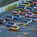 Joey Logano (22) leads during the final lap NASCAR Sprint Cup Series auto race auto race at Talladega Superspeedway, Sunday, Oct. 23, 2016, in Talladega, Ala. (AP Photo/Butch Dill)