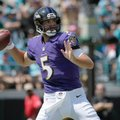 FILE - In this Sept. 15, 2016, file photo,Baltimore Ravens quarterback Joe Flacco (5) throws a pass during the first half of an NFL football game against the Jacksonville Jaguars in Jacksonville, Fla. Fantasy football players must now deal with an added challenge: the bye weeks. That means replacing top players in your lineups, starting with those from Seattle and Green Bay, where the Packers looked better on offense last week. (AP Photo/Phelan M. Ebenhack, File)