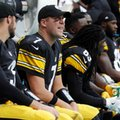 FILE - In this Sunday, Oct. 16, 2016, file photo, Pittsburgh Steelers quarterback Ben Roethlisberger (7) sits on the sidelines during the second half of an NFL football game against the Miami Dolphins in Miami Gardens, Fla. Backup QB Landry Jones is set to guide the Steelers against the New England Patriots, while Roethlisberger recovers from left knee surgery. (AP Photo/Lynne Sladky, File)