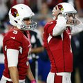 FILE - In this Oct. 23, 2016, file photo, Arizona Cardinals kicker Chandler Catanzaro (7) reacts after missing a winning field goal as punter Ryan Quigley (9) looks on during overtime of an NFL football game against the Seattle Seahawks in Glendale, Ariz. Last Sunday's 6-6 tie between Seattle and Arizona was remarkable from many aspects, but one of the lasting memories was the reactions from Arizona coach Bruce Arians and Seattle coach Pete Carroll to a pair of short missed field goals in overtime that could have won the game for either team. (AP Photo/Ross D. Franklin)