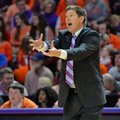 FILE - In this Jan. 16, 2016, file photo, Clemson head coach Brad Brownell reacts during the second half of an NCAA college basketball game against Miami in Greenville, S.C. Clemson basketball coaches Brad Brownell and Audra Smith are both thrilled with the schools renovated arena. They also understand that with a better building come increased expectations for programs that have not made the NCAA Tournament in a while. The renovation of the 47-year-old building cost $63.5 million.