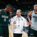 FILE - In this Oct. 14, 2016, file photo, Michigan State coach Tom Izzo, center, talks with Eron Harris, left, and Miles Bridges following the NCAA college basketball team's scrimmage, in East Lansing, Mich. Bridges might be the best player Hall of Famer Tom Izzo has coached in two-plus decades at Michigan State.
