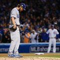 Los Angeles Dodgers starting pitcher Clayton Kershaw (22) looks down as he pitches during the fourth inning of Game 6 of the National League baseball championship series against the Chicago Cubs, Saturday, Oct. 22, 2016, in Chicago. (AP Photo/Nam Y. Huh)