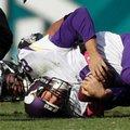 Minnesota Vikings' Sam Bradford (8) is tackled by Philadelphia Eagles' Jordan Hicks during the second half of an NFL football game, Sunday, Oct. 23, 2016, in Philadelphia. (AP Photo/Michael Perez)
