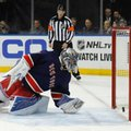 New York Rangers goalie Henrik Lundqvist (30) looks back as the puck bounces off his shoulder and into the net for a goal for the Boston Bruins during the first period of an NHL hockey game, Wednesday, Oct. 26, 2016, in New York. (AP Photo/Julie Jacobson)