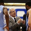 FILE - In this Feb. 16, 2010, file photo, North Carolina head coach Roy Williams talks to his players in the second half of an NCAA college basketball game against Georgia Tech in Atlanta. The Hall of Fame coach is leading a veteran team with three returning starters from a team that won the ACC regular-season and tournament titles before losing to Villanova in the NCAA championship game.