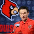 Louisville NCAA college basketball head coach Rick Pitino answers a question during the Atlantic Coast Conference media day in Charlotte, N.C., Wednesday, Oct., 26, 2016.