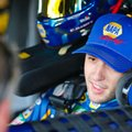 Sprint Cup Series driver Chase Elliott sits in his car in the garage area before practice for Sunday's NASCAR Sprint Cup auto race at Talladega Superspeedway, Friday, Oct. 21, 2016, in Talladega, Ala. (AP Photo/Butch Dill)