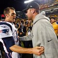 "FILE - In this Oct. 23, 2016, file photo, Pittsburgh Steelers quarterback Ben Roethlisberger, right, and New England Patriots quarterback Tom Brady, left, visit on the field after an NFL football game in Pittsburgh. A clip from Showtime's ""Inside the NFL"" captured a conversation between the quarterbacks before the game that shows Roethlisberger asking for Brady's jersey. (AP Photo/Don Wright, File)"