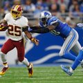 Washington Redskins running back Chris Thompson (25) is pushed out of bounds by Detroit Lions defensive end Devin Taylor (98) during the first half of an NFL football game, Sunday, Oct. 23, 2016 in Detroit. (AP Photo/Paul Sancya)