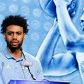 North Carolina NCAA college basketball player Joel Berry II answers a question during the Atlantic Coast Conference media day in Charlotte, N.C., Wednesday, Oct., 26, 2016.