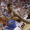 North Carolina's Kennedy Meeks (3) grabs a rebound from Indiana's Josh Newkirk (2) during the second half of an NCAA college basketball game Wednesday, Nov. 30, 2016, in Bloomington, Ind. Indiana defeated North Carolina 76-67.