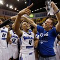Indiana State guard Brenton Scott (4) celebrates a 72-71 win over Butler in an NCAA college basketball game in Terre Haute, Ind., Wednesday, Dec. 7, 2016.