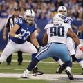 FILE - In this Nov. 20, 2016, file photo, Indianapolis Colts offensive tackle Joe Haeg (73) drops back to block against the Tennessee Titans as quarterback Andrew Luck (12) looks for a receiver during an NFL football game in Indianapolis. The Colts have used six different line combinations and Haeg, a rookie, has started at three different spots. (AP Photo/Darron Cummings, File)