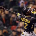 FILE - In this Aug. 15, 2016, file photo, Pittsburgh Pirates' Andrew McCutchen swings for an RBI single against the San Francisco Giants in the seventh inning of a baseball gamen in San Francisco. NL Cy Young Award winner Max Scherzer and previous MVPs Buster Posey and Andrew McCutchen are among the top players confirmed to play for the United States at the 2017 World Baseball Classic. (AP Photo/Ben Margot, File)