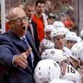 Florida Panthers general manager and interim coach Tom Rowe talks to his team during the first period of an NHL hockey game against the Chicago Blackhawks on Tuesday, Nov. 29, 2016, in Chicago. (AP Photo/Charles Rex Arbogast)