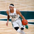 FILE - In this Oct. 27, 2016, file photo, Michigan State's Miles Bridges drives against Northwood during the first half of an NCAA college basketball exhibition game, in East Lansing, Mich. No. 12 Michigan State adds forward Miles Bridges.