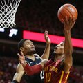 Iowa State forward Darrell Bowie is fouled by Cincinnati forward Kyle Washington as he goes up for a shot during the first half of an NCAA college basketball game, Thursday, Dec. 1, 2016, in Ames, Iowa.