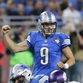 FILE - In this Nov. 24, 2016, file photo, Detroit Lions quarterback Matthew Stafford gestures after a play during the first half of an NFL football game against the Minnesota Vikings, in Detroit. No team plays on the edge in 2016 more than the Lions. Every Detroit game has been decided by seven points or fewer, with either Matthew Stafford or Matt Prater needing to lift them to victory in the final moments.(AP Photo/Duane Burleson, File)