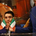 Michael Conlan, left, of Belfast, Northern Ireland, who boxed for Ireland at the London Olympics, listens during his introduction at a press conference, Wednesday, Jan. 18, 2017, at Madison Square Garden in New York. Conlan makes his pro debut in New York on St. Patrick's Day, Friday March 17, in a junior featherweight bout against Denver's Tim Ibarra. (AP Photo/Bebeto Matthews)
