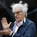 FILE - In this file photo dated Saturday, July 9, 2016, Bernie Ecclestone gestures in a paddock at the Silverstone racetrack, Silverstone, England. Ecclestone is to step down from his position Formula Ones' chief executive, according to his announcement Monday Jan. 23, 2017. (AP Photo/Luca Bruno, FILE)
