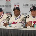 Newly elected baseball Hall of Fame inductees Jeff Bagwell, left, Tim Raines, center, and Ivan Rodriguez, take part in a news conference, Thursday, Jan. 19, 2017, in New York. (AP Photo/Mary Altaffer)