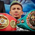 Middleweight champion Gennady Golovkin, from Kazakhstan, sits behind two of his four championship belts, during a boxing press conference, Tuesday, Jan. 10, 2017, at Madison Square Garden in New York. Golovkin will put his belts on the line against challenger Daniel Jacobs on Saturday, March 18 at Madison Square Garden. (AP Photo/Bebeto Matthews)