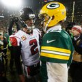 FILE - In this Dec. 8, 2014, file photo, Atlanta Falcons quarterback Matt Ryan (2) talks to Green Bay Packers quarterback Aaron Rodgers after an NFL football game in Green Bay, Wis. The Packers and Falcons play in the NFC Championship on Sunday, Jan. 22, 2017, in Atlanta.(AP Photo/Mike Roemer, File)