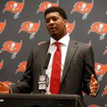 "FILE - In this Dec. 18, 2016, file photo, Tampa Bay Buccaneers' Jameis Winston participates in a news conference after an NFL football game against the Dallas Cowboys in Arlington, Texas. Winston, who was accused of raping another student when he was in college, says he made a ""poor word choice"" in comments about women in a recent talk to students at a Florida elementary school. The Tampa Bay Times reports Winston spoke to third- through fifth-grade students at Melrose Elementary in St. Petersburg on Wednesday, Feb. 22, 2017, telling them about his three rules of life. When the kids got fidgety, Winston told the boys to stand up, reminding them that they're ""strong."" Then, he said the ""ladies"" are ""supposed to be silent, polite, gentle."" (AP Photo/Michael Ainsworth, File)"