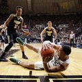 Michigan State guard Miles Bridges (22) attempts to save a loose ball in from tot Purdue forward Vince Edwards (12) and guard Spike Albrecht (55) in the first half of an NCAA college basketball game in West Lafayette, Ind., Saturday, Feb. 18, 2017.