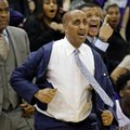Washington coach Lorenzo Romar pulls on his jacket as a call goes in favor of Arizona late in the second half of an NCAA college basketball game Saturday, Feb. 18, 2017, in Seattle. Arizona won 76-68.