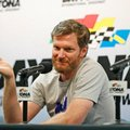 FILE - In this June 30, 2016, file photo, Dale Earnhardt Jr. gestures as he speaks during a news conference before the start of a NASCAR Sprint Cup auto racing practice at Daytona International Speedway, in Daytona Beach, Fla. NASCAR has a new sponsor, a new format and a familiar face this year in its bid to rebound from declining ratings and attendance. The next 11 months will show if Dale Earnhardt Jr., Monster Energy and different rules can provide the needed jolt.(AP Photo/Wilfredo Lee, File)