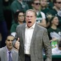 Michigan State coach Tom Izzo yells from the sideline during the first half of the team's NCAA college basketball game against Nebraska, Thursday, Feb. 23, 2017, in East Lansing, Mich.