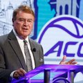 ACC Commissioner John Swofford answers a question during the Atlantic Coast Conference NCAA college basketball media day in Charlotte, N.C., Wednesday, Oct., 26, 2016.