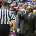 Florida State head coach Leonard Hamilton gives a referee a thumbs-up after being moved back to his coaching area in the first half of an NCAA college basketball game against Boston College in Tallahassee, Fla., Monday, Feb. 20, 2017.
