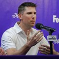 Denny Hamlin answers a question during a news conference before the qualifying races for Sunday's Daytona 500 NASCAR Cup series auto race at Daytona International Speedway in Daytona Beach, Fla., Thursday, Feb. 23, 2017. (AP Photo/Terry Renna)