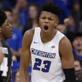 Creighton's Justin Patton (23) reacts after scoring during the first half of the team's NCAA college basketball game against Providence in Omaha, Neb., Wednesday, Feb. 22, 2017.