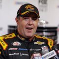 Brendan Gaughan makes comments at NASCAR Daytona 500 media day at Daytona International Speedway, Wednesday, Feb. 22, 2017, in Daytona Beach, Fla. (AP Photo/John Raoux)