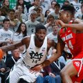 Michigan State's Eron Harris, left, drives against Ohio State's Andre Wesson during the first half of an NCAA college basketball game, Tuesday, Feb. 14, 2017, in East Lansing, Mich.