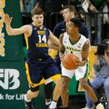 West Virginia guard Chase Harler (14) defends as Baylor's Wendell Mitchell (1) prepares to make a pass in the first half of an NCAA college basketball game, Monday, Feb. 27, 2017, in Waco, Texas.