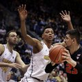 California's Ivan Rabb, center, and Kameron Rooks, left, guard Oregon State's Gligorije Rakocevic (23) during the second half of an NCAA college basketball game Friday, Feb. 24, 2017, in Berkeley, Calif.