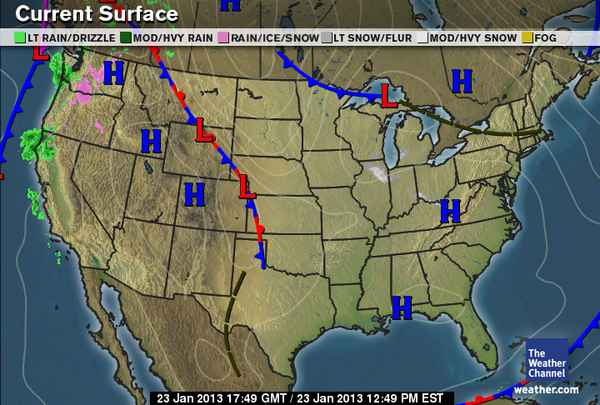 National Current Surface Weather Map